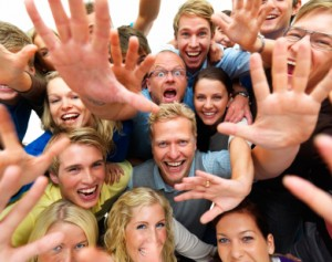 Raving fans stock photo